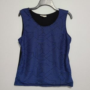 Dana Buchman sleeveless blue black top womens sz L